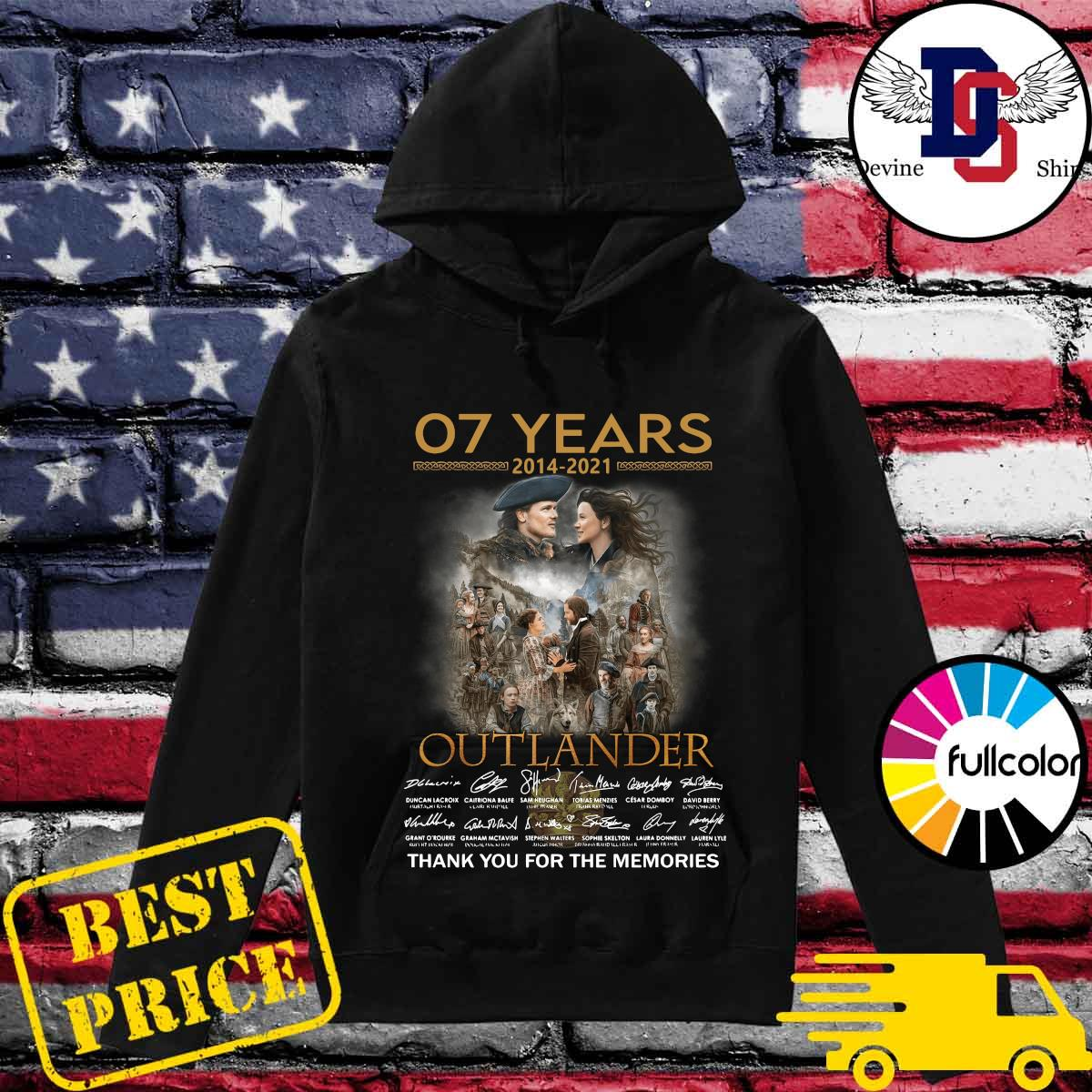 Official 07 Years 2014 2021 Of The Outlander Signatures Thank You For The Memories Shirt Hoodie