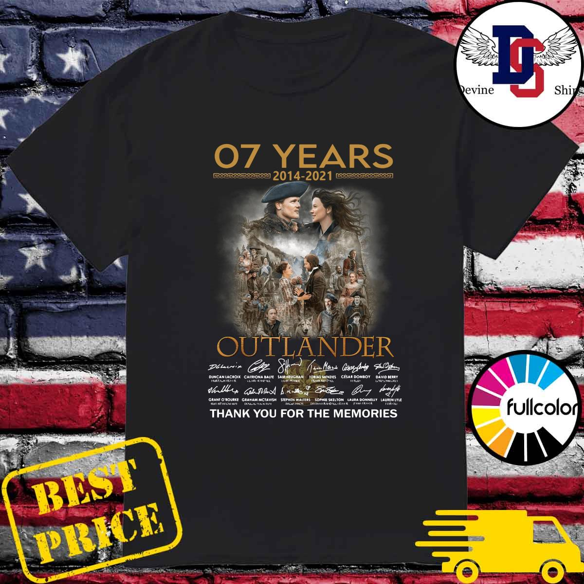 Official 07 Years 2014 2021 Of The Outlander Signatures Thank You For The Memories Shirt