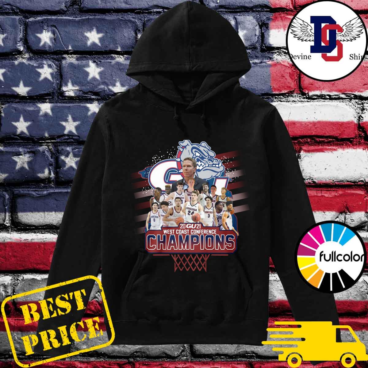 Official Gonzaga Bulldogs Basketball Team 2021 West Coast Conference Champions Shirt Hoodie