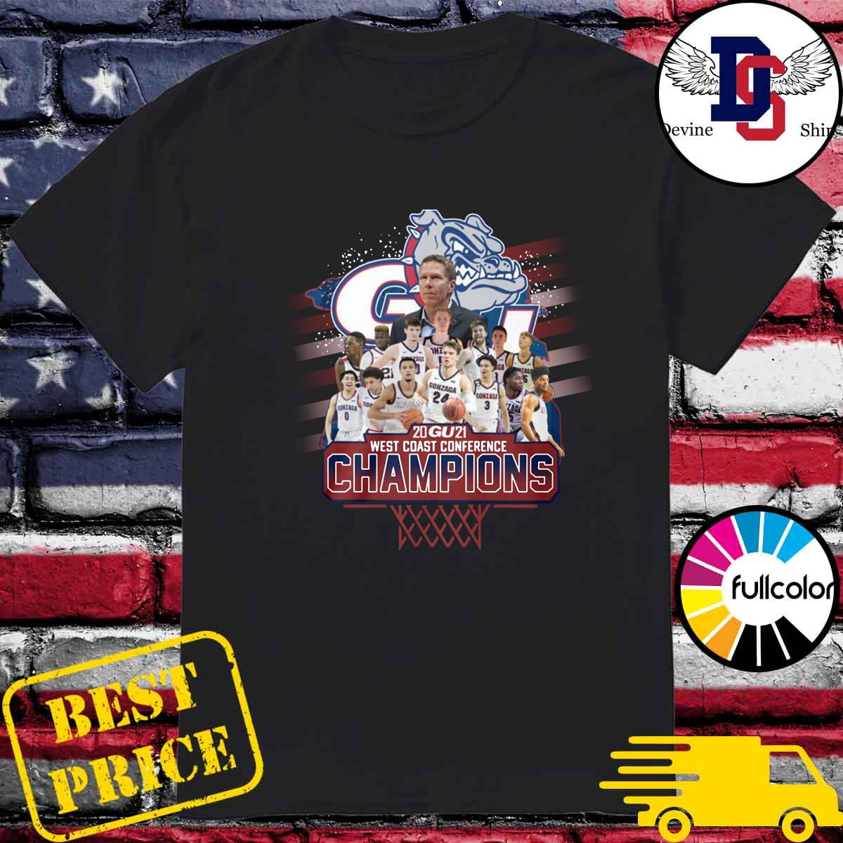 Official Gonzaga Bulldogs Basketball Team 2021 West Coast Conference Champions Shirt
