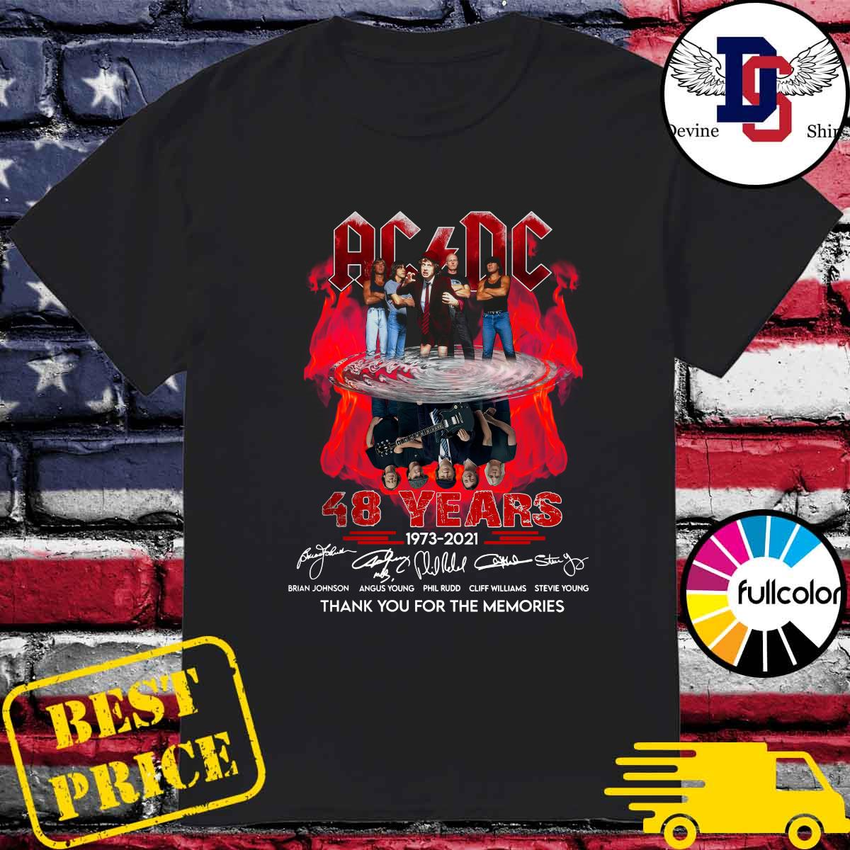 Official Thank You For The Memories Of The Ad Dc Band With 48 Years 1973 2021 Signatures Shirt