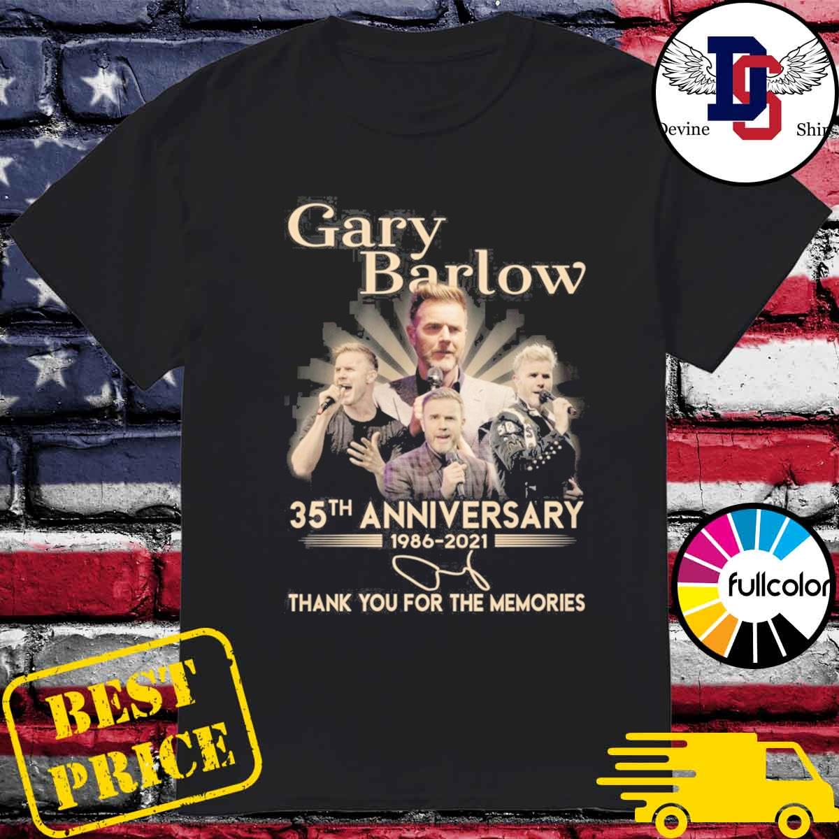 Gary Barlow 35th Anniversary 1986 2021 Signature Thank You For The Memories Shirt