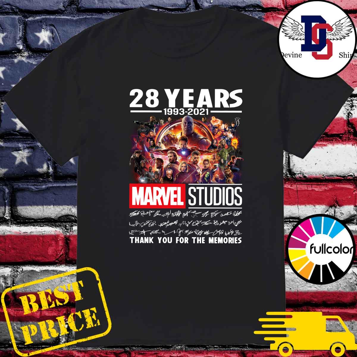 Official 28 Years 1993 2021 Of The Marvel Studios Characters Signatures Thank You For The Memories Shirt