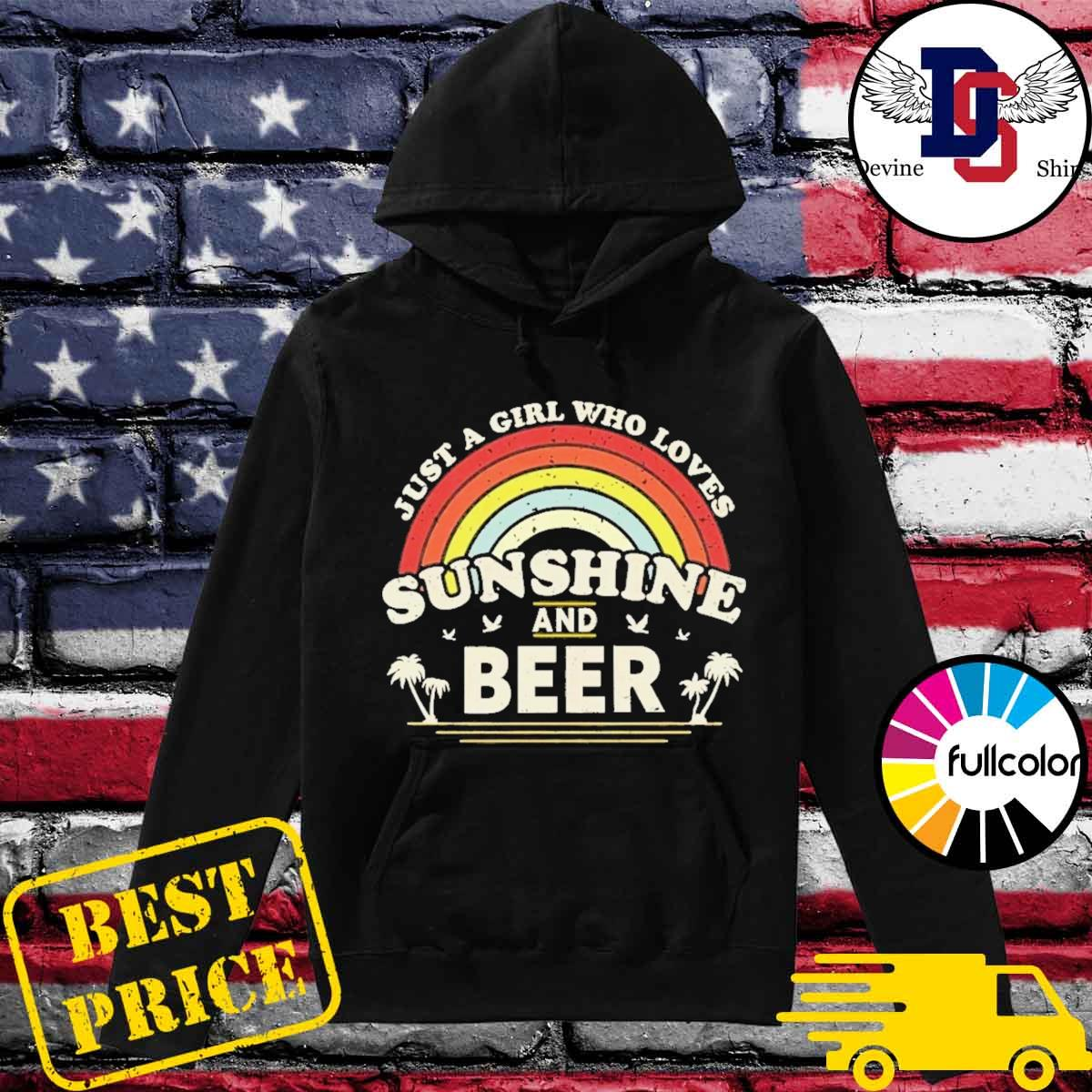 Official Just A Girl Who Loves Sunshine And Beer Retro Rainbow Shirt Hoodie