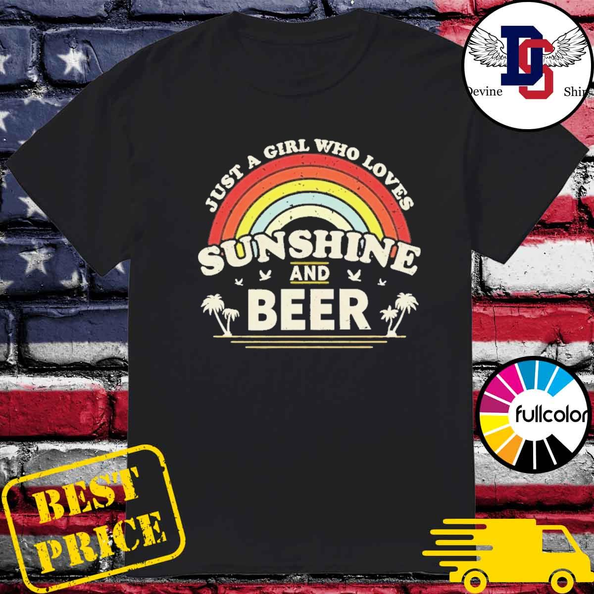 Official Just A Girl Who Loves Sunshine And Beer Retro Rainbow Shirt
