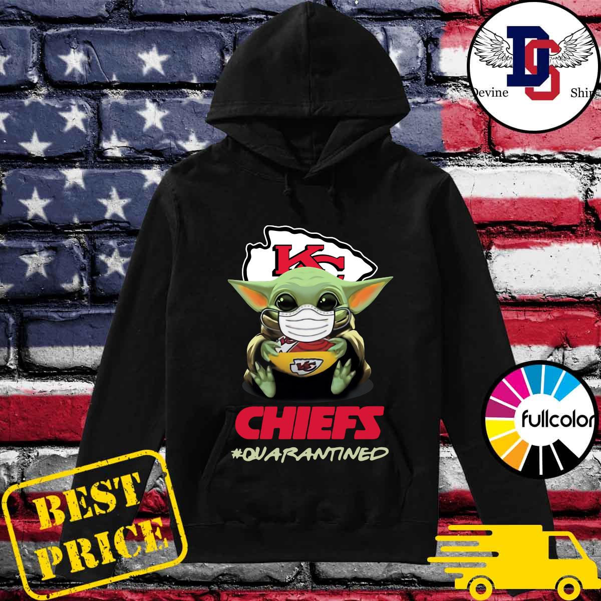 Official Baby Yoda Face Mask Hug Chiefs 2021 Quarantined Shirt Hoodie