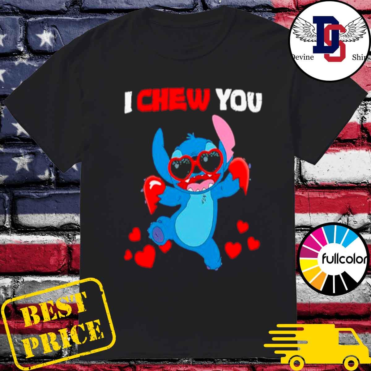 Stitch I chew you heart shirt